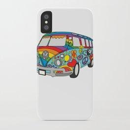 Retro Vintage Beach Bus Hippie Van Design iPhone Case