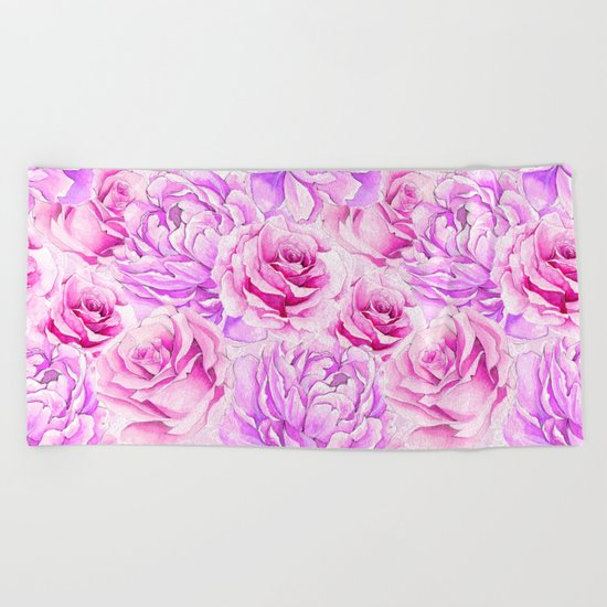 Watercolor Roses Beach Towel