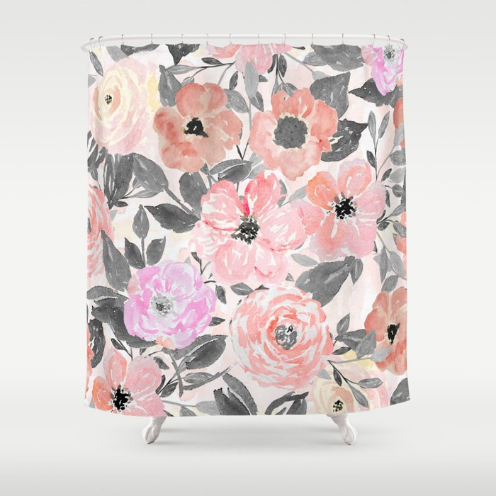 Elegant simple watercolor floral Shower Curtain