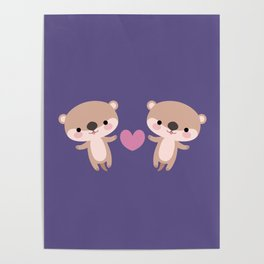 Kawaii otters Poster