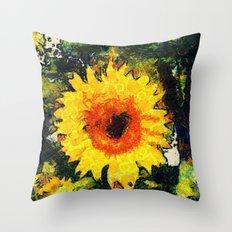 van Gogh styled sunflowers version 1  Throw Pillow