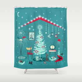 Retro Holiday Decorating ii Shower Curtain