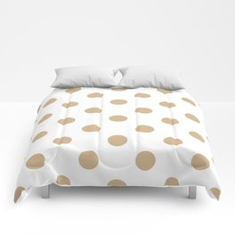 Polka Dots - Tan Brown on White Comforters