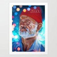zissou Art Prints featuring Zissou by The Notorious Gasoline Company