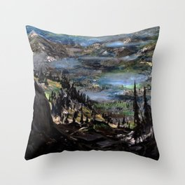 Just Another Landscape (oil on canvas) Throw Pillow