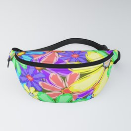 Flowers with red petals. Gentle background or pattern of flowers in bright colors. Fanny Pack
