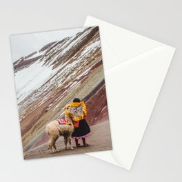 Peruvian girl in Quechua dress with her pet llama in front of a snow-capped Rainbow Mountain Stationery Cards