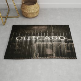 Chicago Typography Railway Lettering Tinder Vintage Train Rug