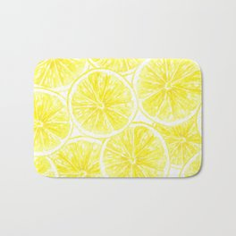 Lemon slices pattern watercolor Bath Mat