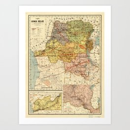 Map of the Congo, Africa (1896) Art Print