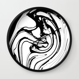 Black, White and Graphic Paint Swirl Pattern Effect Wall Clock