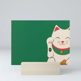 Green Lucky Cat Maneki Neko Mini Art Print