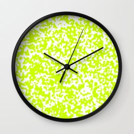 Small Spots - White and Fluorescent Yellow Wall Clock