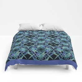 Thanksgiving Tiled - Blue Black Comforters