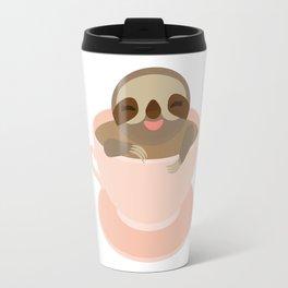 Sloth in a Pink cup coffee, tea, Three-toed sloth Travel Mug