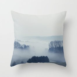 White Cover - Foggy Landscape Throw Pillow