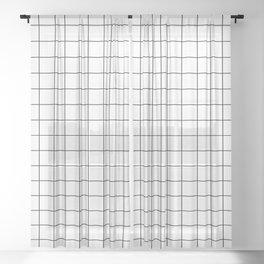 Grid Simple Line White Minimalist Sheer Curtain