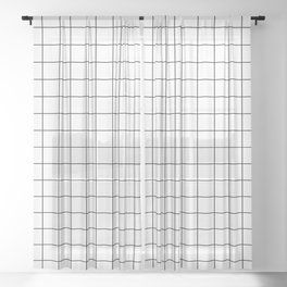 Grid Stripe Lines Black and White Minimalist Geometric Sheer Curtain