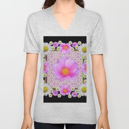 Floral Abundance Black Shasta Daisy Pink Roses Abstract Art For the home or the office and gifts fro Unisex V-Neck