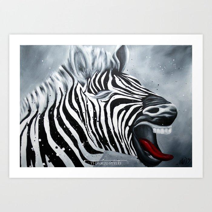 Cheeky Zebra Art Print