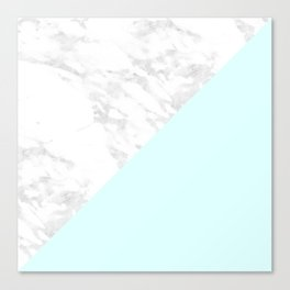 White Marble with Pastel Blue and Grey Canvas Print