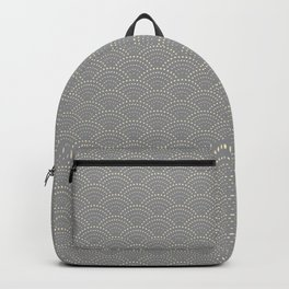 Japanese Wave Seigaiha Super Moon Grey Pattern Backpack