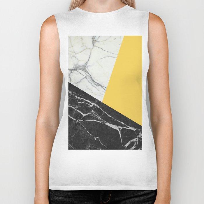 Black and White Marble with Pantone Primrose Yellow Biker Tank