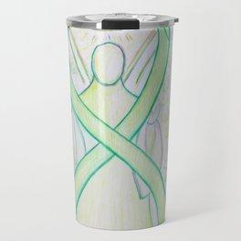 Lime Green Awareness Ribbon Angel Art Painting Travel Mug