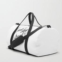 eat, sleep, travel, repeat   [black] Duffle Bag