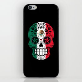 Sugar Skull with Roses and Flag of Mexico iPhone Skin