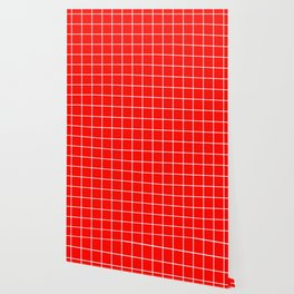 Candy apple red - red color - White Lines Grid Pattern Wallpaper