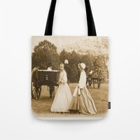 battlefield Tote Bags featuring Strolling on the Battlefield by Frankie Cat