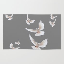 WHITE PEACE DOVES ON GREY COLOR DESIGN ART Rug