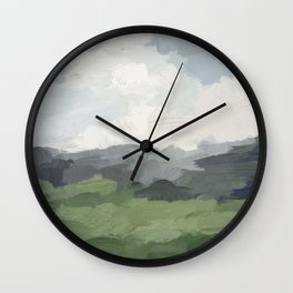 Sky Blue and Forest Green Rural Country Farm Land Nature Abstract Painting Art Print Wall Decor  Wall Clock