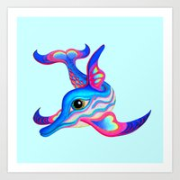 dolphin Art Prints featuring dolphin by giol's