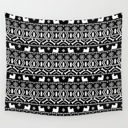Biewer Terrier fair isle christmas black and white pattern minimal dog breed pet designs Wall Tapestry