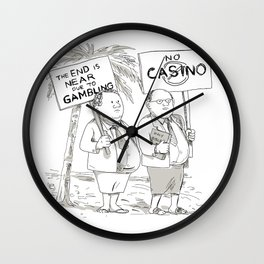 Fat Samoan Preacher Protesting Cartoon Wall Clock