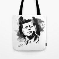 jfk Tote Bags featuring John F. Kennedy JFK by viva la revolucion