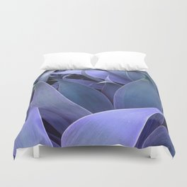 Abstract Leaves Periwinkle Teal Duvet Cover