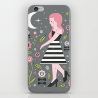 dress iPhone & iPod Skins featuring Monochrome Dress by Carly Watts