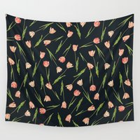 tulips Wall Tapestries featuring Tulips by Heart of Hearts Designs