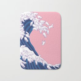 Llama Waves in Pink Bath Mat