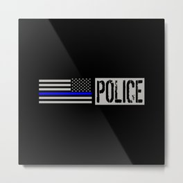 Police: Police Flag (Thin Blue Line) Metal Print