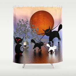 mooncats and the aliens Shower Curtain