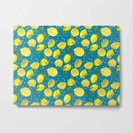 Seamless Pattern with juicy lemons Metal Print