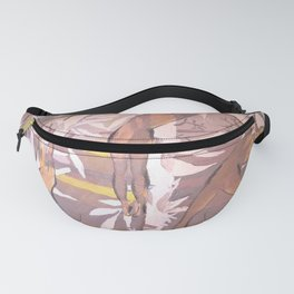 Girls in yoga poses and tropical plants in pastel beige colors. Fanny Pack