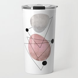 Mid Century Art Pink Black Travel Mug