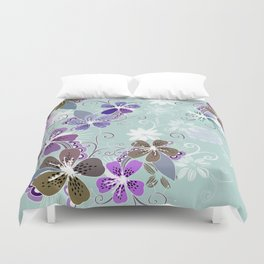Summer blossom, blue and purple Duvet Cover