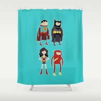 league Shower Curtains featuring Adventure League by randallmaynard
