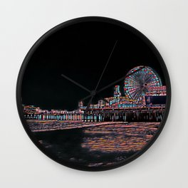 Stained Glass Santa Monica Pier Wall Clock